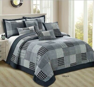 3 Piece Bedspread Comforter Bed Throw Vintage Printed Patchwork + Pillow Shams