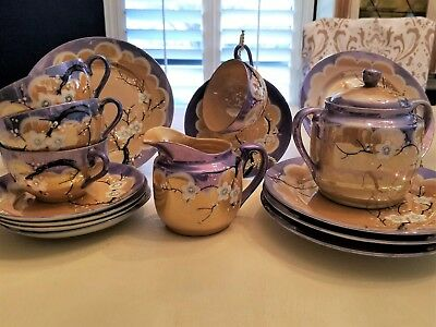 Vintage, Takito, Lusterware, Hand-Painted Japanese Tea Set