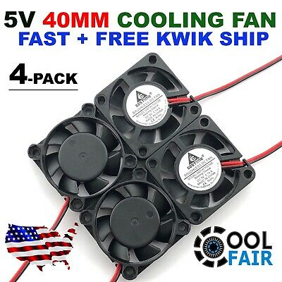 4 Pcs 5V 40mm Cooling Computer Case Fan 4010 40x40x10mm DC PC 3D Printer 2-Pin