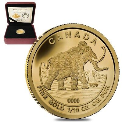 2014 1/10 oz Gold Canadian Woolly Mammoth $5 Proof Coin .9999 Fine (w/Box & COA)