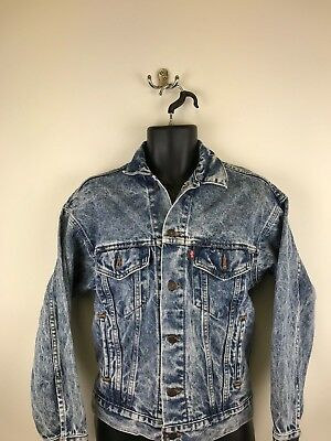 Men's Levi's Strauss Vintage Denim Jacket - Size XS - Made in USA - Acid Wash