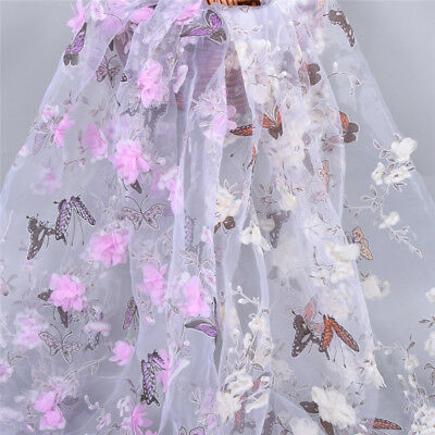 African Chiffon Buttfly Flower Fabric Organza Embroidered DIY Lace Applique Yard
