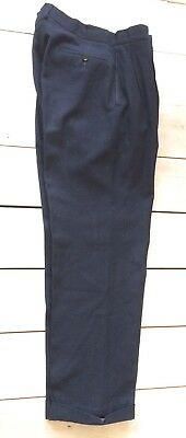 Vtg Genuine 1950s Men's Navy Wool Herringbone Flannel Trousers WW2 W33 L30
