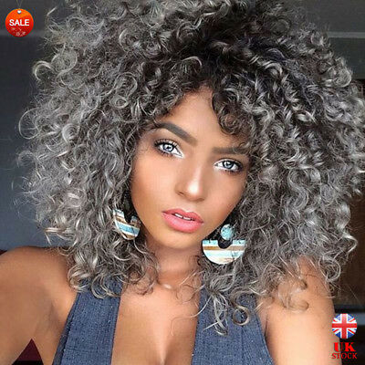 Women Black Grey Ombre Curly Big-haired Wigs Lady Afro Full Head Synthetic Hair
