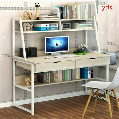 Wooden PC Computer Desk Home Office Laptop Study Table W/ Shelves Keyboard Tray