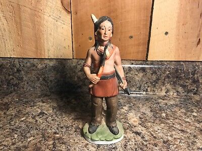 Vintage Native American Indian Chief Porcelain Figurine Statue