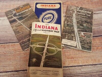 Vintage Lot of 4 INDIANA Road Maps 1950`s