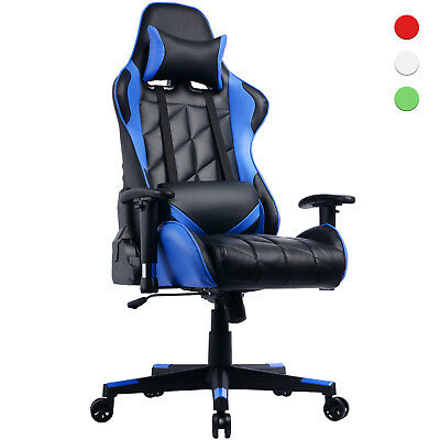 Gaming Chair Reclining Backrest Gamer Racing Office Chair w Cushions Racer Seat