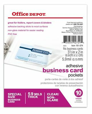 Office Depot Adhesive Business Card Pockets, Pack Of 10, 181074