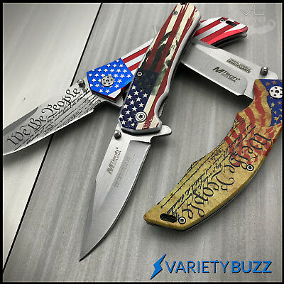 3 PC SPRING ASSISTED Pocket Knife Set American Flag Tactical Blade Military USA