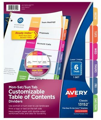 """Avery Ready Index Days Of The Week Preprinted Tab Dividers, 8 1/2"""" x 11"""", 6 Tabs"""