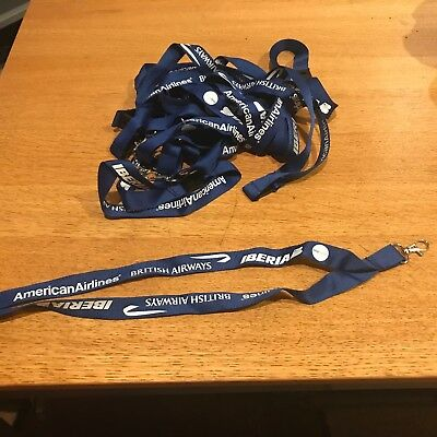 American Airlines (Old Logo) One World Lanyards Iberia British Airways LOT of 10