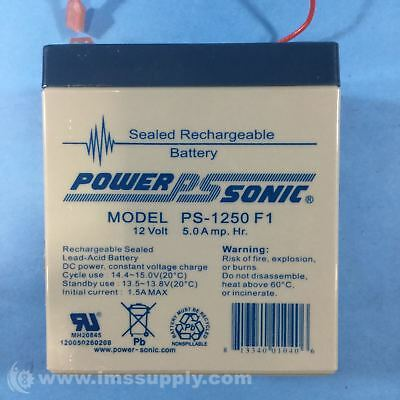 Power Sonic Ps-1250 F1 Sealed Rechargeable Battery, 12V, 5.0 Amp Usip