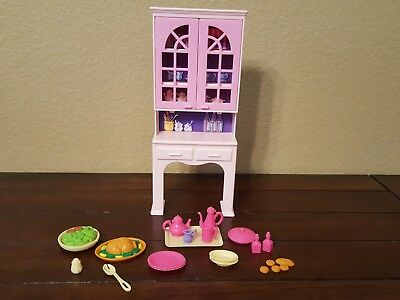 Vintage 1994 Barbie So Much To Do Dining Room Hutch Furniture Food Dishes