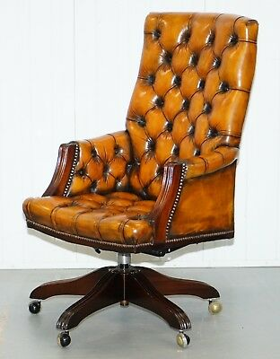 Fully Restored Chesterfield Captains Office Chair Hand Dyed Cigar Brown Leather