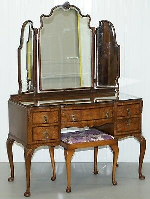 Stunning Victorian Walnut Dressing Table With Georgian  Irish Style Carved Legs