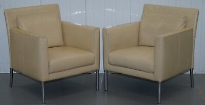 Pair Of Rrp £6000 Walter Knoll Jason 391 Cream Leather Contemporary Armchairs