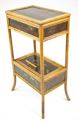 Bamboo Sewing Table, Victorian Bamboo, Chinoiserie Decoration, 1880, B1226