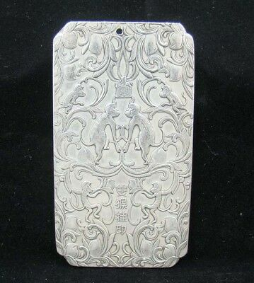 Collectable Handmade Carved Statue Tibet Silver Amulet Pendant Monkey
