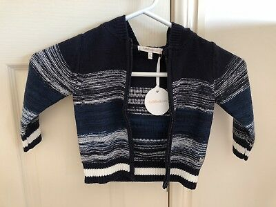 Baby Boy Fox & Finch Rock Knit Jacket with Hood Size 1 12 Months