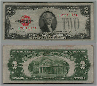 1928G $2 Dollar Bill Old Us Note Legal Tender Paper Money Currency  B-37