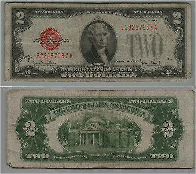 1928G $2 Dollar Bill Old Us Note Legal Tender Paper Money Currency  B-23