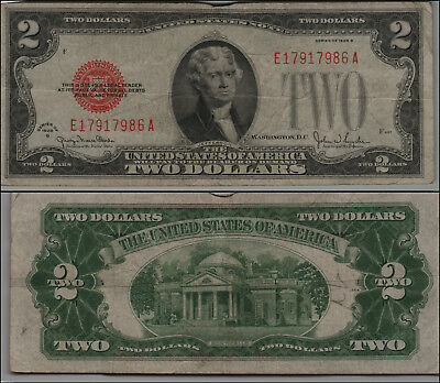 1928G $2 Dollar Bill Old Us Note Legal Tender Paper Money Currency  B-30