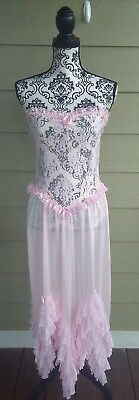 Fredericks of Hollywood Vtg 80's Pink Strapless Lacy Nylon Nightgown Large