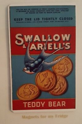 EARLY 1900's SWALLOW & ARIELL'S TEDDY BEAR BISCUITS FRIDGE MAGNET - M693 LA