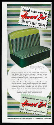 1951 Vintage Print Ad 50's HOWARD ZINK car seat cover image mid century