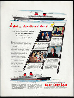 1954 Vintage Print Ad 50's UNITED STATES LINES cruise ship travel tourism boat