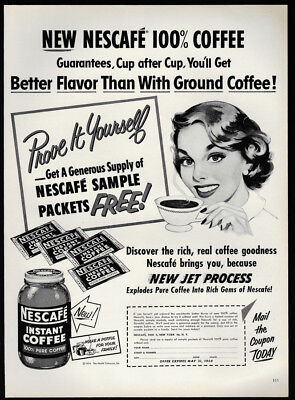 1954 Vintage Print Ad 50's NESCAFE instant coffee woman drinking illustration