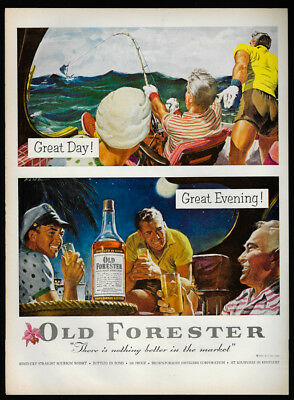1954 Vintage Print Ad OLD FORESTER kentucky whiskey fishing art illustration
