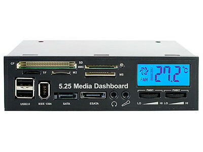 MEDIA Dashboard 5.25inch Card Reader I/O Ports USB2/FW 2x Fan Controls LCD