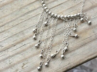 """925 sterling silver Lariat Bali beads chain necklace with toggle closer 16"""""""