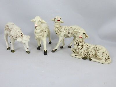 Vintage Christmas Nativity Animals Set of 4 Sheep Made In Italy Nice Detail
