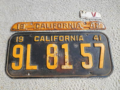 1941 California License Plate with 1942 Tag and WWII Victory V Tag