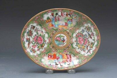 19th.c Chinese Rose Medallion Tray, Figural and Floral and Birds