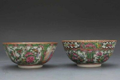 Chinese 19th.c Rose Medallion Lot Of 2 Bowls