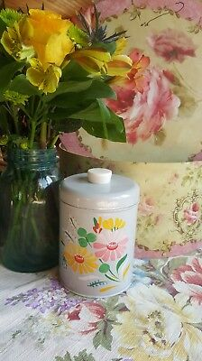 Vintage Rare Ransburg Grey Canister Hand Painted Flowers Kitchen Jar Metal Tin