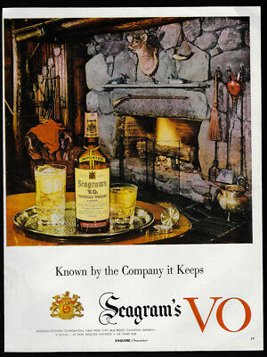 1954 Vintage Print Ad 50's SEAGRAM'S VO fireplace image tray bottle glass cabin