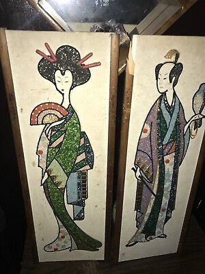 2 Vntg Mid Century Modern Asian GEISHA Pebble Gravel Art Japanese Wall Hangings
