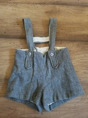Vintage Young Ideas Wool Boy Shorts Grey Toddler Suspenders 3/4