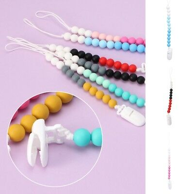Kawaii Silicone Beads Baby Pacifier Clip Chain Holder Nipple Dummy Soother Strap