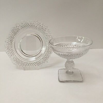 Cambridge Mt. Vernon Footed Champagne Glass Sherbet Dish W/ Bread & Butter Plate