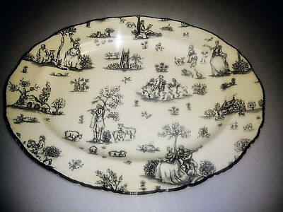 """WOOD & SONS -12"""" - Made in England - TOILLE DE JOUY Black scalloped oval PLATTER"""