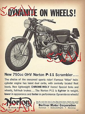 1967 Norton Motorcycle Print Ad P-11 Scrambler 750cc Berliner Motor Corporation
