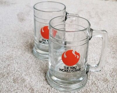 Rare Vintage 1982 Worlds Fair Heavy Glass Beer Mugs, Knoxville Tennessee Steins