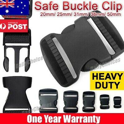 Black Plastic Side Quick Release Buckle Clip – Cord Strap Backpack Bag Safe