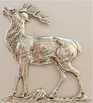 Finely Etched Ox Silver Reindeer Elk Deer Stag Stamping Finding USA